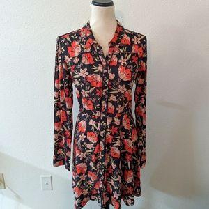Zara Woman Floral Button Down Collared Dress